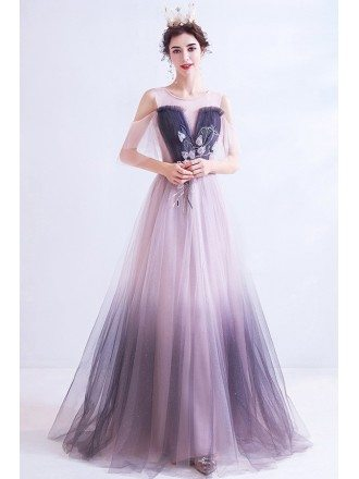 Unique Ombre Pink With Purple Long Tulle Prom Dress With Cold Shoulder