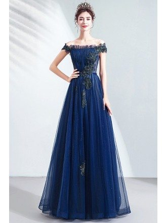 Popular Navy Blue Off Shoulder Aline Prom Dress With Bling Flowers