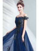 Popular Navy Blue Off Shoulder Aline Prom Dress With Bling Flowers