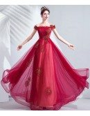 Off Shoulder Burgundy Red Tulle Prom Dress Aline With Embroidery