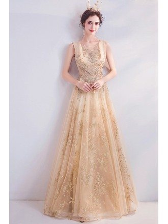 Luxe Gold Aline Long Tulle Prom Dress With Round Neck