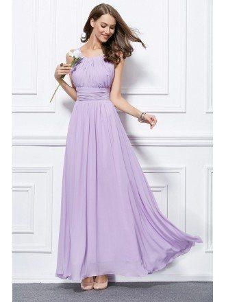 Feminine A-Line Chiffon Long Bridesmaid Dress With Ruffle