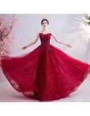 Red Beaded Lace Sweetheart Prom Dress With Laceup
