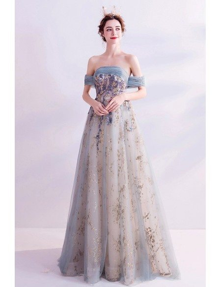 Romantic Dusty Green Long Prom Dress Off Shoulder With Sparkly Sequins