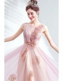 Gorgeous Pink Tulle Long Prom Dress With Embroidery Flowers