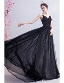 Formal Black Long Train Evening Prom Dress With Open Back