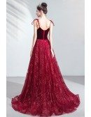 Bling Star Burgundy Long Prom Dress Red Sweetheart With Train Straps