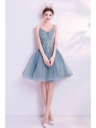Dusty Grey-blue Short Tulle Prom Dress With Spaghetti Straps