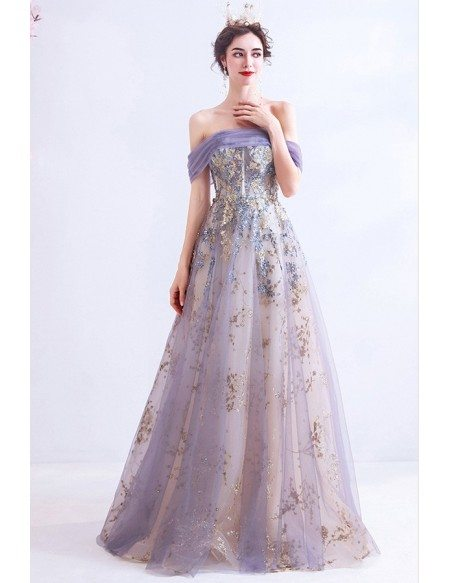 Sexy Off Shoulder Light Purple Long Prom Dress With Bling Materials