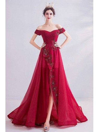 Red Split High Low Party Prom Dress Sexy With Off Shoulder