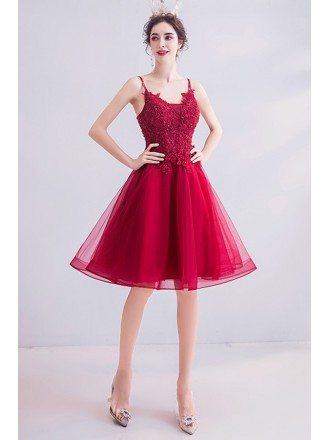 Burgundy Red Lace Short Flare Prom Dress With Straps