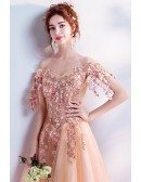 Coral Orange Ballgown Tulle Prom Dress Off Shoulder With Flowers Beaded