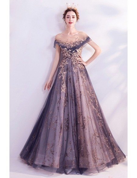 Bling Sequins Mist Blue Tulle Prom Dress With Illusion Neckline