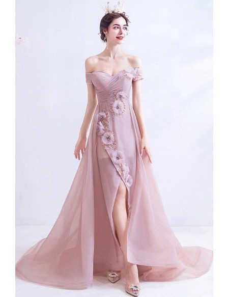 Nude Pink Off Shoulder High Low Party Dress With Beaded Flowers