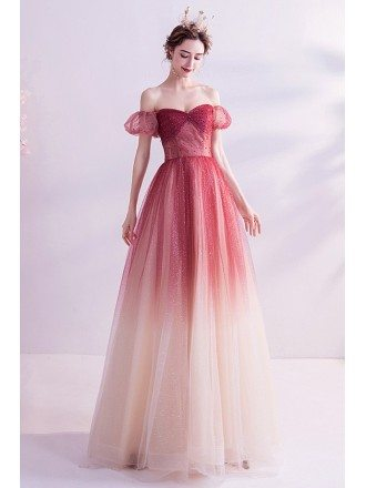 Sparkly Ombre Red Tulle Off Shoulder Prom Dress With Laceup