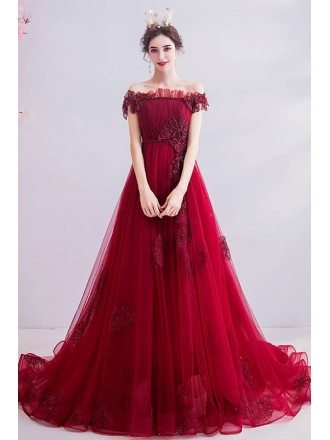 Off Shoulder Long Train Prom Dress With Embroidered Flowers