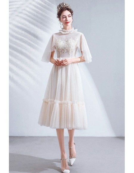 Retro Cream White Tea Length Party Dress With Puffy Sleeves