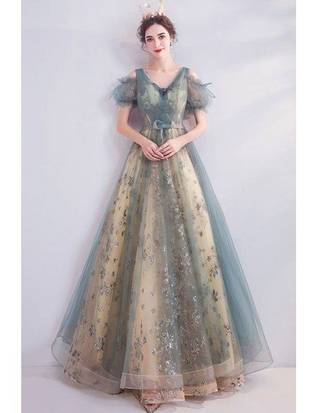 Dusty Green Blue Long Aline Fairy Prom Dress With Sparkly Flowers