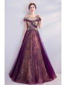 Purple With Gold Embroidery Aline Long Prom Dress With Illusion Neckline