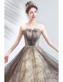 Grey Tulle Sparkly Stars Long Prom Dress Aline With Illusion Neckline