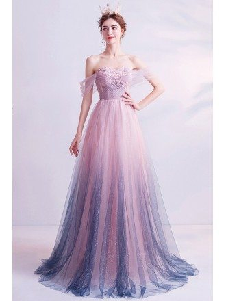 Fairy Ombre Pink Purple Prom Dress Off Shoulder With Sparkly Tulle