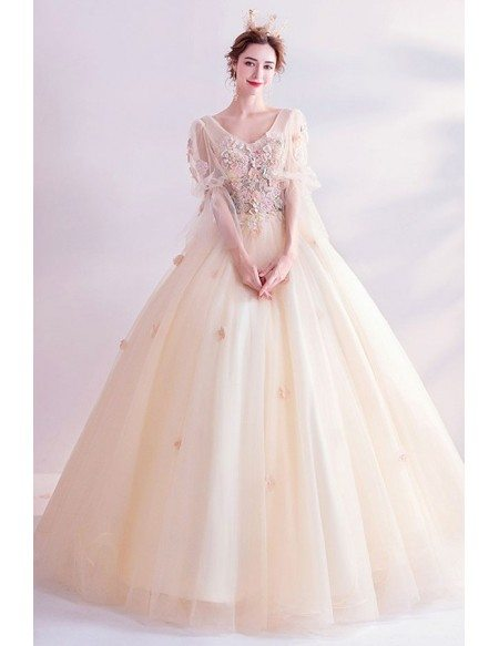 Romantic Light Champagne Ballgown Prom Dress With Tulle Sleeves Petals