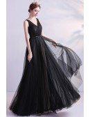 Long Black Vneck Formal Dress Aline For Parties