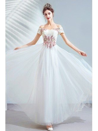 Ivory White Tulle Off Shoulder Formal Dress With Appliques