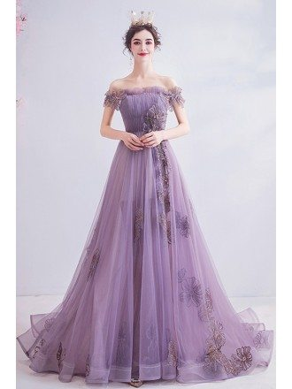 Beautiful Dusty Purple Long Train Prom Dress Off Shoulder With Flowers
