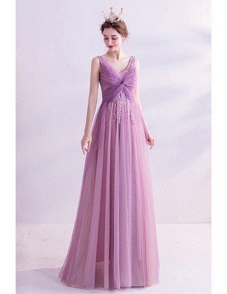 Purple Long Tulle Aline Prom Dress Party Vneck With Sequins