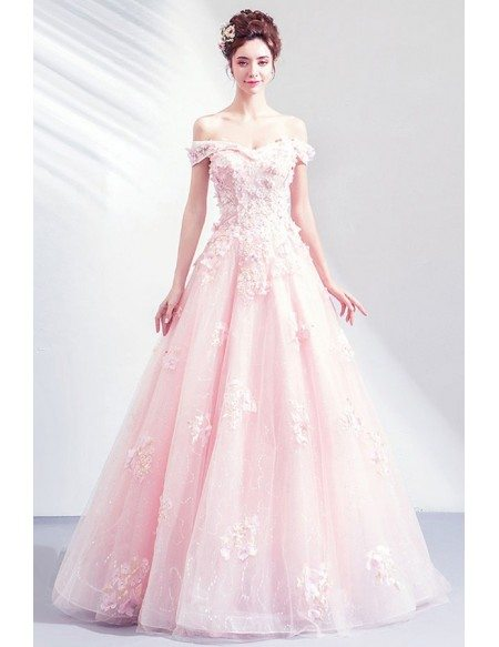 Gorgeous Princess Pink Ballgown Off Shouler Prom Dress With Petals