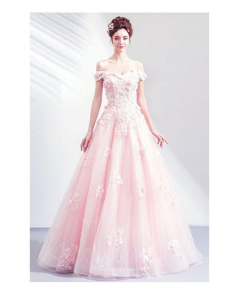 Gorgeous Princess Pink Ballgown Off Shouler Prom Dress With Petals Wholesale T76030 Gemgrace Com