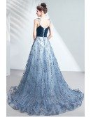 Bling Blue Sequins Star Prom Dress Sweetheart With Train