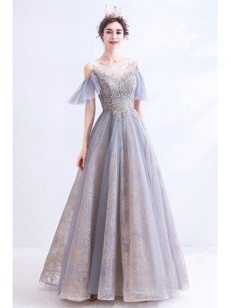 Grey Blue Illusion Neck Ballgown Prom Dress With Gold Embroidery