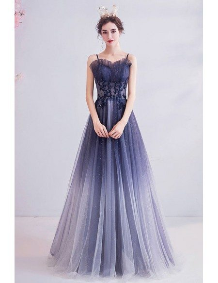 Ombre Purple Bling Tulle Aline Prom Dress With Spaghetti Straps
