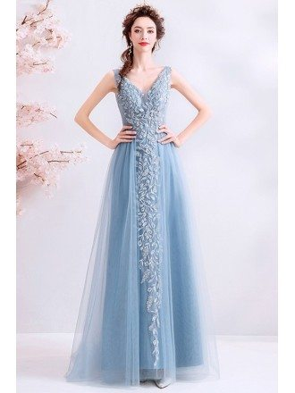 Blue Aline Tulle Vneck Prom Dress With Embroidery Sleeveless