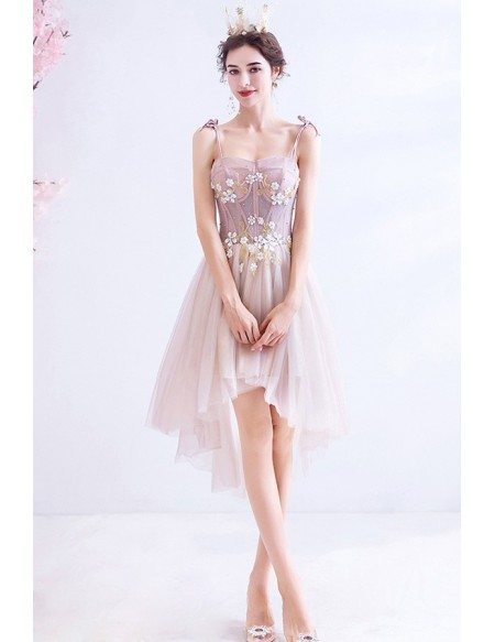 Short Pink High Low Cute Party Dress With Straps