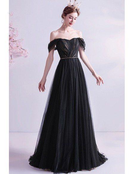 Formal Long Black Evening Prom Dress With Train Off Shoulder