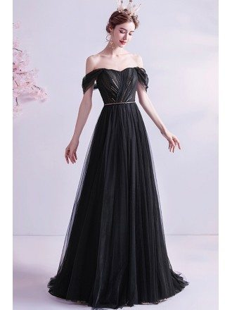 Formal Long Black Evening Prom Dress With Train Off Shoulder