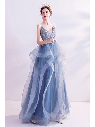 Beautiful Blue Ruffles Vneck Prom Dress With Appliques