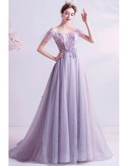 Fantasy Dusty Purple Fairy Prom Dress Off Shoulder With Train