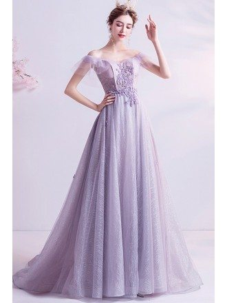Fantasy Dusty Purple Fairy Prom Dress Off Shoulder With Train