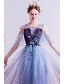 Fantasy Blue Purple Ombre Prom Dress With Bling