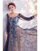 Retro Blue Square Neck Aline Prom Dress With Long Sheer Sleeves
