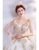 Princess Ballgown Wedding Dress With Shawl Golden Leaf Pattern