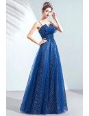 Blue Tulle Shinning Sequins Long Prom Dress With Spaghetti Straps