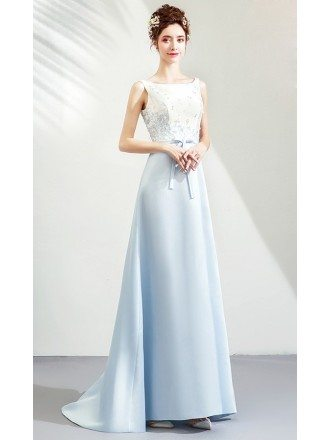 Light Blue With White Satin Party Prom Dress Train With Sash