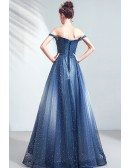 Dreamy Ombre Blue Sparkly Prom Dress With Bling Off Shoulder