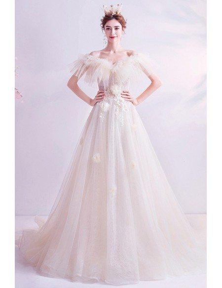 Cream White Romantic Wedding Dress Off Shoulder With Petals Train