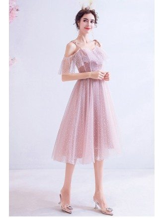 Bling Short Pink Cute Party Dress Knee Length With Straps